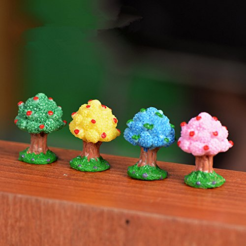 OPZO Miniature Garden Moss Landscape Decoration Artificial Tree DIY Decorates Ornaments Micro Landscape Ornaments Fairy Garden Accessories - 4PCS Blue Yellow Green Pink