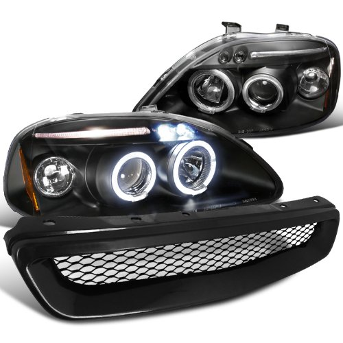 galleon honda civic black led halo projector headlights. Black Bedroom Furniture Sets. Home Design Ideas