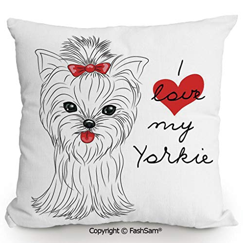 FashSam Home Super Soft Throw Pillow I Love My Yorkie Cute Terrier with its Tounge Out Adorable Yorkshire Terrier for Sofa Couch or Bed(14