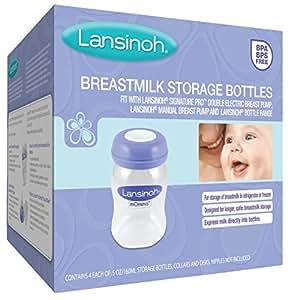 Lansinoh Breastmilk Storage Bottles, 4 Count, BPA Free and BPS Free
