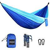 Image of Sunshine Camping Hammocks Garden Hammocks Double Nylon Portable Lightweight Hammock with Two Hanging Straps for Backpacking, Camping, Travel, Beach, Yard