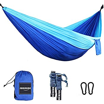 Sunshine Camping Hammocks Garden Hammocks Double Nylon Portable Lightweight Hammock with Two Hanging Straps for Backpacking, Camping, Travel, Beach, Yard