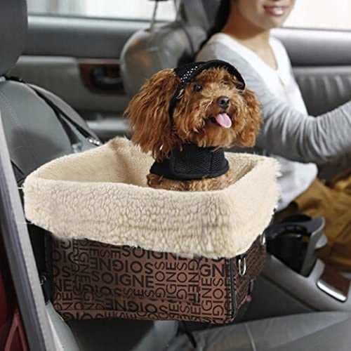 Waterproof Easy Folding Installing Pet Carrier Basket Bag Detachable Sheepskin Fur Lining Security Bucket Strap Pet Booster Car Seat Cover Travel Transport Vehicle Harness Hammock for Small Dogs Cats Animals up to 5 kg