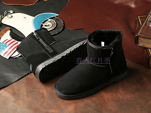 A couple of snow boots warm winter coat waterproof size short tube thick wool shoes,44 black by ZRLsly