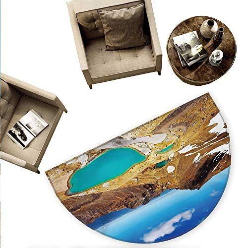 Zealand Semicircular Cushion Tongariro National Park Emerald Lakes and Mountains Natural Tourist Attractions Entry Door Mat H 70.8