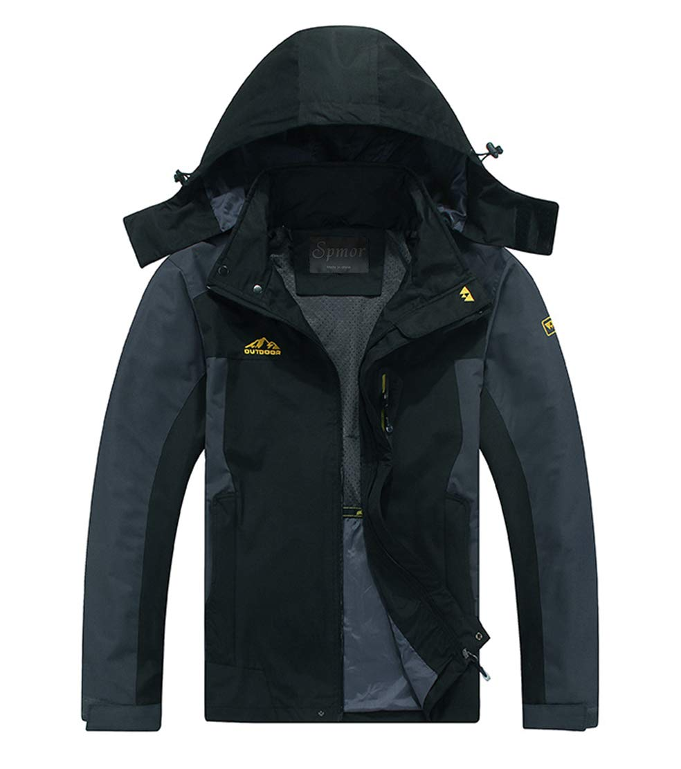 Spmor Men's Outdoor Sports Hooded Windproof Jacket Waterproof Rain Coat Black Large Plus by Spmor