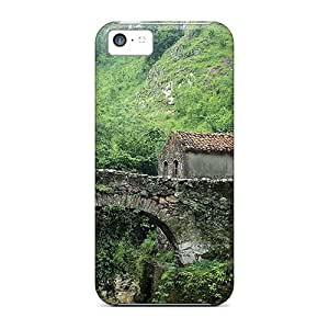 Anti-scratch And Shatterproof Stone Bridge Cabin On Mountain Stream Phone Case For Iphone 5c/ High Quality Tpu Case