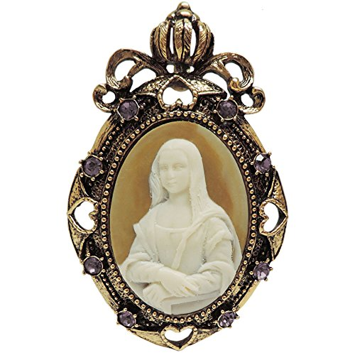 (2 X 3 Whistler's Mother Cameo Brooch, Pendant, Rhinestone Trim, in Antique Brass with Amethyst Finish)