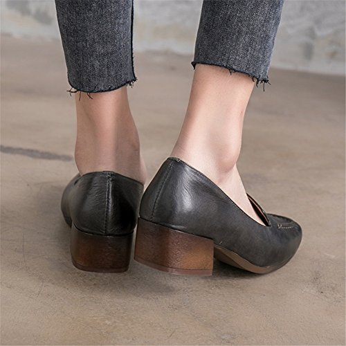 37 Size Ladies B Women's amp; Shoes Leather Heel Block Square 2018 for Head Dress Career Shoes New Office Color YTUxYa