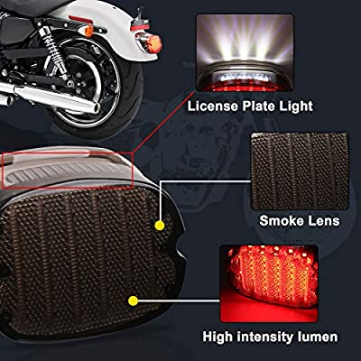 MOVOTOR Harley Tail Light Integrated Turn Signal Brake Running Light Low Profile Smoked Rear Light for Harley Sportster 883 1200 Dyna Road King Electra Glide: Automotive