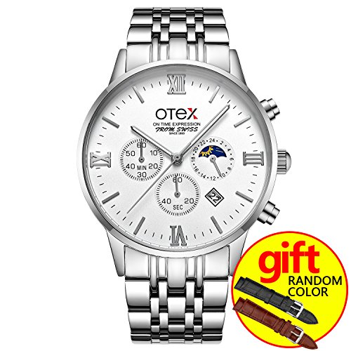 Stainless Steel Business Men's Watch Classic Multifunction Chronograph Luminous Daylight Quartz Watch, Simple Fashion Men's Business Watch (Silver white) by OTEX