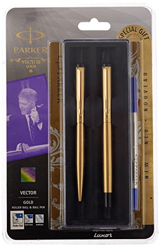 Parker Vector Roller Ball Pen & Ball Pen Combo Gift Set - Fine writing pens (GOLD)