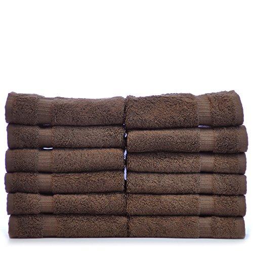 Chakir Turkish Linens Turkish Cotton Luxury Hotel & Spa Bath Towel, Wash Cloth - Set of 12, Cocoa ()