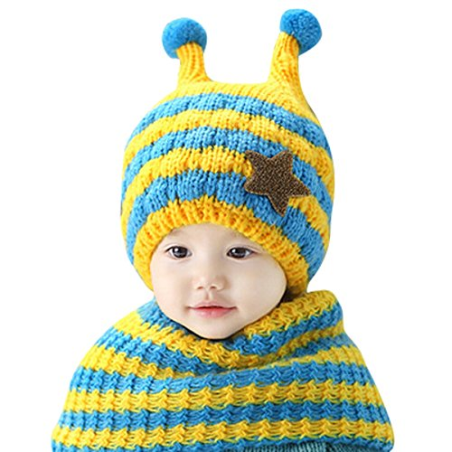 niyatree-child-hat-winter-color-separation-and-snail-tentacles-model-cap-blue-with-yellow