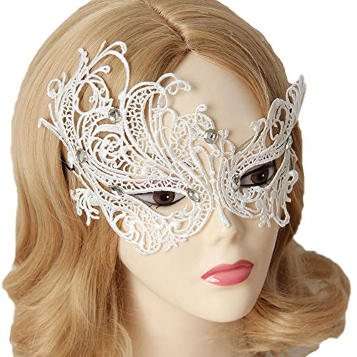 Beaded Masquerade Mask (Vimans Women Cosplay Masquerade Mask White Lace Princess Mask Beaded)