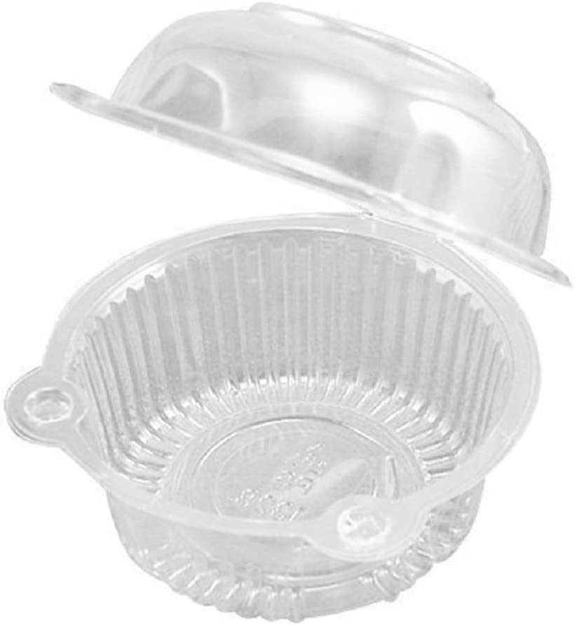 100 pieces BPA Free Clear Plastic Single Individual Cupcake Boxes,Muffin Dome Holders Cases Boxes Cups Pods,Clamshell Container Cupcake Holders,Great for Parties or Cake/Muffin Sales