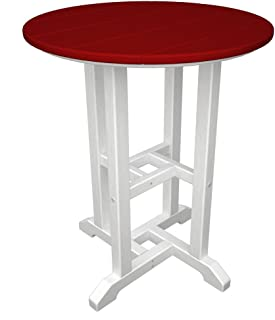 product image for POLYWOOD RT224FWHSR Contempo 24-Inch Round Dining Table, White Frame, Sunset Red