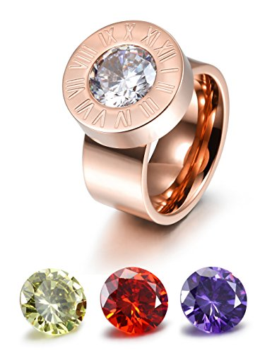 (CIUNOFOR Wide Band Enhancer Ring for Women Yellow Red Purple White CZ Ring Gold Rose Gold Plated Stainless Steel)
