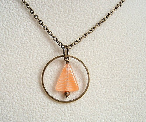 Orange Striped Triangle Czech Glass Circle Frame Pendant 24 Inch Antique Brass Chain Necklace