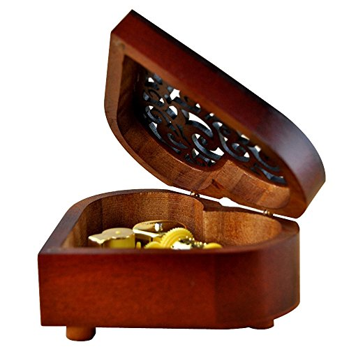 Ornerx Wooden Music Box Heart Shaped Valentine's Day For (Valentine Boxes For Girls)