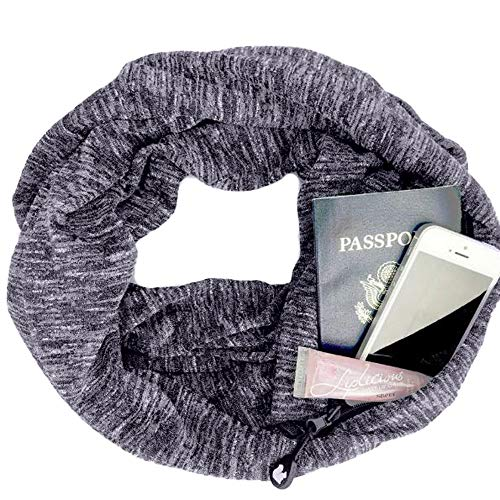 Premium Women Thick Scarf With Double Layer Zipper Pocket-Soft Stretchy Jersey Can dress up Infinity Scarf (Gray)
