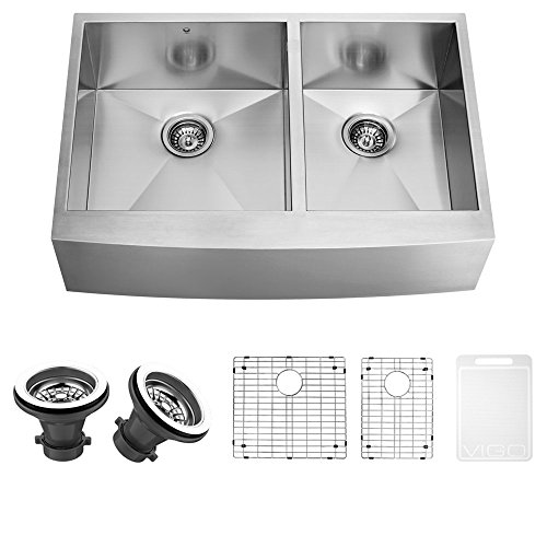(VIGO VG3620BLK1 36 Inch Double Bowl 16 Gauge Stainless Steel Commercial Grade Farmhouse Apron Front Kitchen Sink with Two Grids and Two Strainers, Rounded Corners and SoundAbsorb Technology)