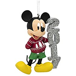 Disney Mickey Mouse 2017 Dated Christmas Tree Ornament Red...