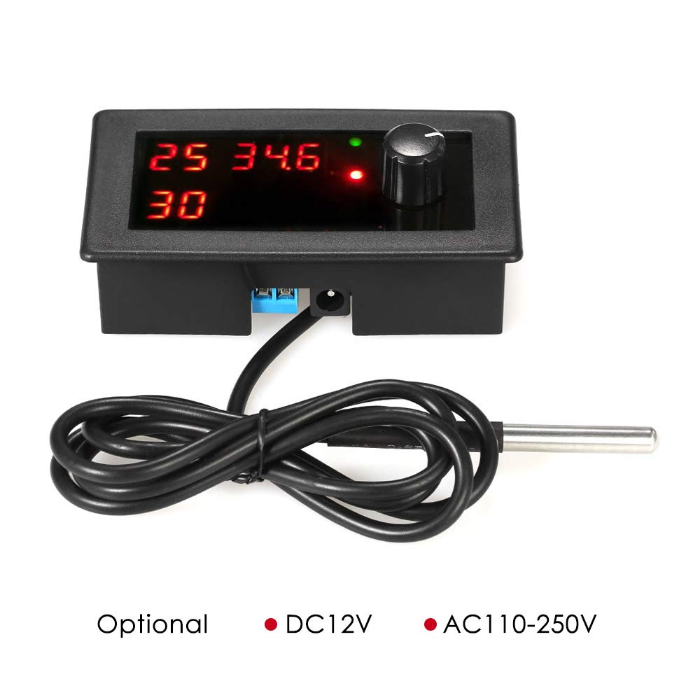 KKmoon DC12V Digital Cooling//Heating Thermostat Temperature Controller Temp Control Single Circuit 55~125℃ 10A Relay with Waterproof Sensor Probe