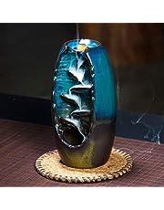 Lisaion Górski uchwyt na kadzidło ręcznie wykonany ceramiczny aromaterapia dekoracja pieca zapach aromatyczna ozdoba retro styl do domowego biura kadzidło do palnika wstecznego prezent-niebieski