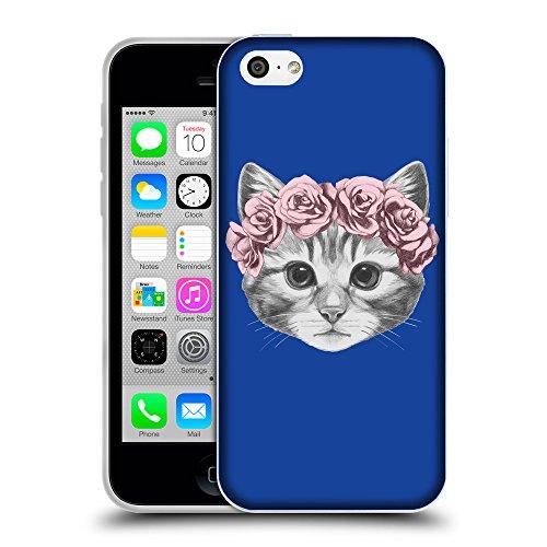 GoGoMobile Coque de Protection TPU Silicone Case pour // Q05020613 Fleur chat Bleu // Apple iPhone 5C