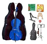 GRACE 3/4 Size BLUE Cello with Hard Case + Soft Carrying Bag+Bow+Rosin+Extra Set of Strings+Extra Bridge+Pitch Pipe+Black Cello Stand+Music Stand BY MERANO