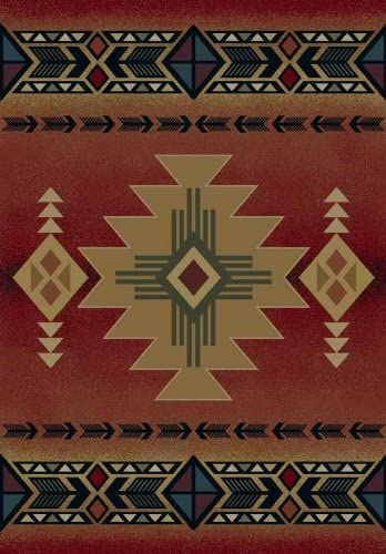 United Weavers of America Genesis Collection Arizona Heavyweight Heat Set Olefin Rug, 3-Feet 11-Inch by 5-Feet3-Inch, Crimson