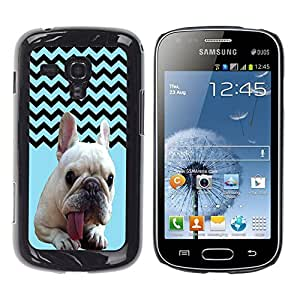 - FRENCH BULLDOG Chevron - - Hard Plastic Protective Aluminum Back Case Skin Cover FOR Samsung GALAXY Trend Duos S7562 Queen Pattern