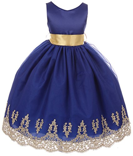 Big Girls' Sleeveless Lace Embroider Party Holiday Dressy Flower Girl Dress Royal 8 (C17B12) ()