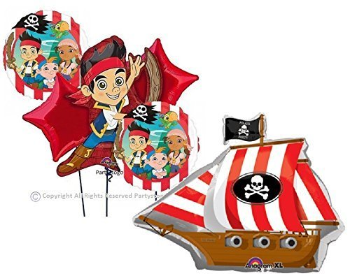 Anagram Jake and The Neverland Pirates Balloons Bouquet Decorations Supplies Pirate Ship -