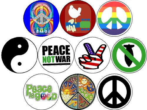 Set of 10 Pinback Buttons HIPPIES 60s WOODSTOCK Peace Signs Tie Dye BOHO ()