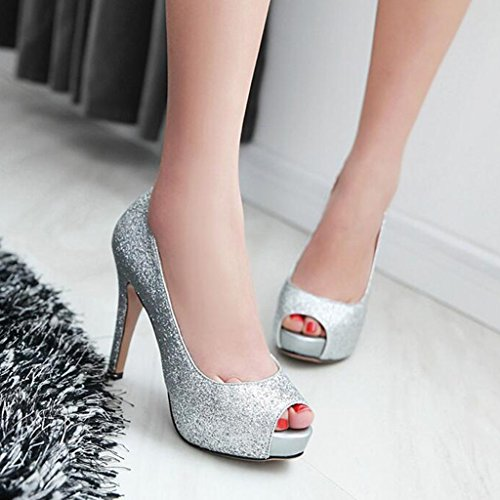 Silver Fish Shoes Women's Heel Heels Thin High Spring Shoes Dress Mouth Uppers Sequin Summer Shoes 6UTwCS