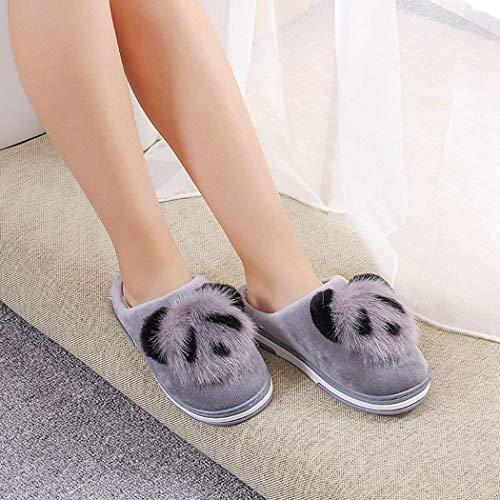 Grigio Panda slip on Animato Signore Home Delle Nikimi Indoor Slip Simpatico Primavera Non Cartone Pattini Pantofole Calda Peluche Donne wcAU70