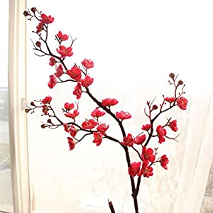 Inverlee Artificial Fake Flowers Cherry Blossom Plum Floral Wedding Bouquet Home Decor 13