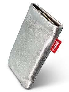 fitBAG Groove Silber - Funda a medida, Exterior de cuero genuino, con forro interno de microfibra, para HTC Dream