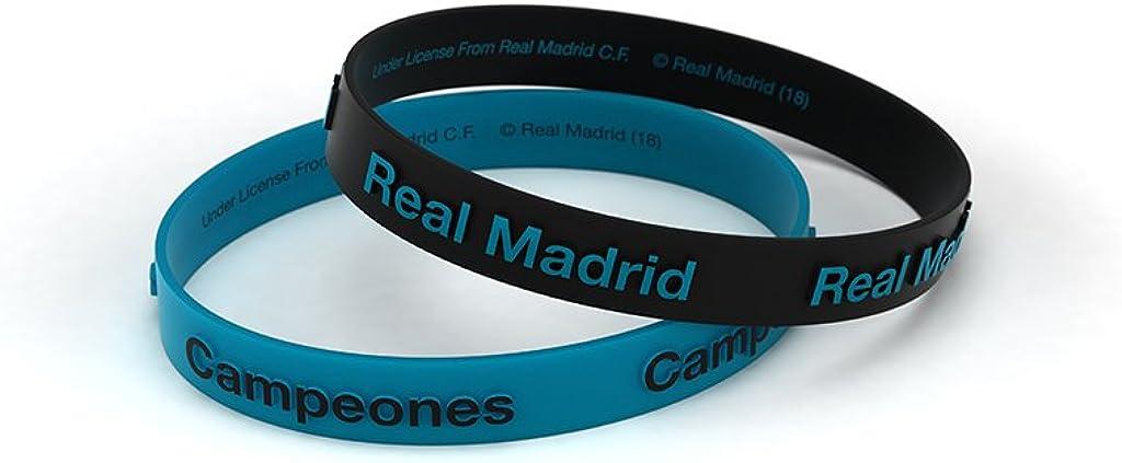 Pulsera Real Madrid Club de Fútbol Relieve Azul Turquesa Junior para Mujer y Niño, Pulsera de Silicona, Producto Oficial
