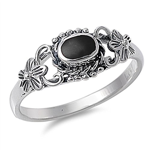 Women's Flower Simulated Black Onyx Beautiful Ring New 925 Sterling Silver Band Size 4
