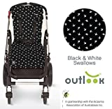 Outlook Universal Cotton Stroller Liner Seat Cushion Pad (Black Swallows)
