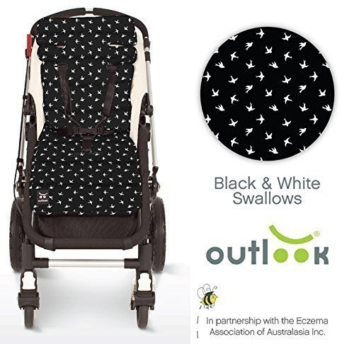 Outlook Universal Cotton Stroller Liner Seat Cushion Pad (Black Swallows) by OUTLOOK