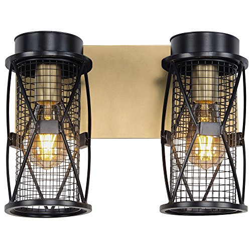 - Rogue Décor 612640 Harlequin 2-Light Bath Fixture - Warm Bronze/Gold