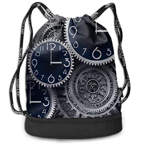 Multifunctional Bundle Backpack - Artistic Clocks Creative Illustration 3D Print Drawstring Backpack