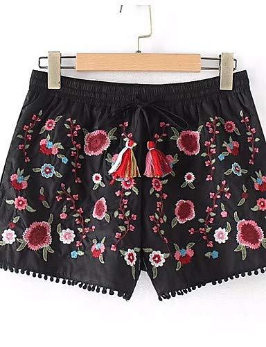 floreali corti Ricami Pantaloncini Black Basic YFLTZ da donna W4zO6axqnY