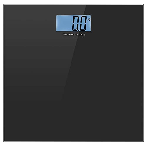 Body Weight Scale, Helect Tempered Glass Digital Bathroom Scale with Step-On Technology 400LB/180KG (Black) - H1010