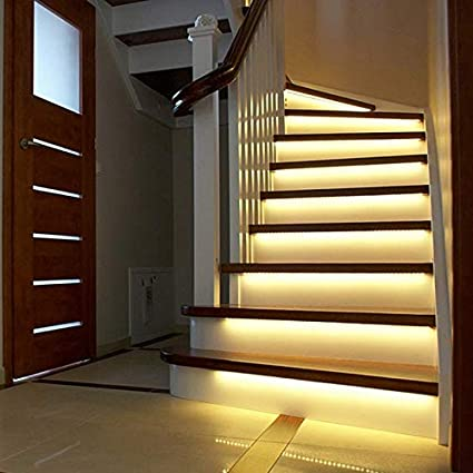 3M 2M 1M LED Luz de escalera inteligente debajo de la cama Luz Sensor PIR Detector Control Lámpara de pared inteligente Armario Armario Luz de cocina Blanco cálido 1M: Amazon.es: Iluminación
