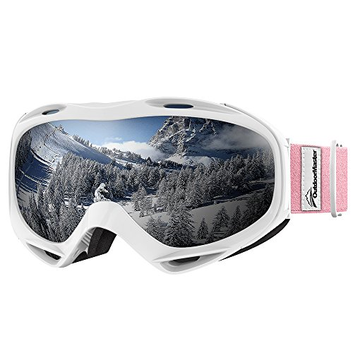 OutdoorMaster OTG Ski Goggles - Over Glasses Ski / Snowboard Goggles for Men, Women & Youth - 100% UV Protection (White Frame + VLT 10.2% Grey Lens)